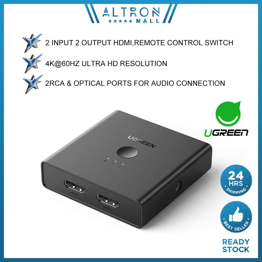 UGREEN HDMI Switcher Splitter HDMI 2 Input 2 Output 4K 60Hz UHD Ultra HD Converter PC Laptop HDTV Projector Windows