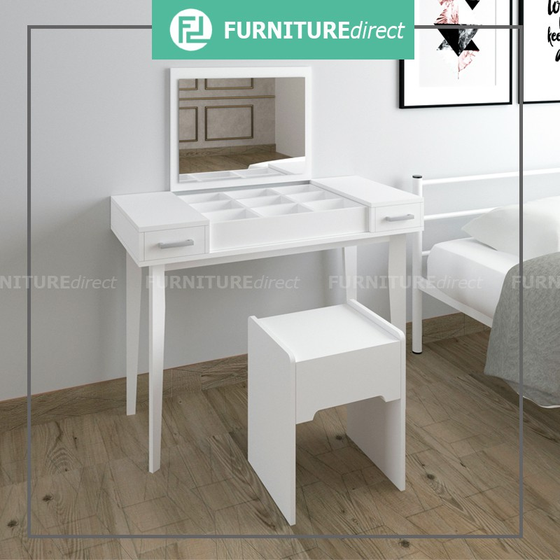 Furniture Direct LANNA mirror dressing table with stool/ makeup table with stool