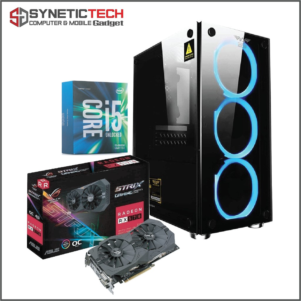 Intel Core i5-7600 16GB 240GB SSD AMD RX570 4GB DDR5 Gaming Desktop