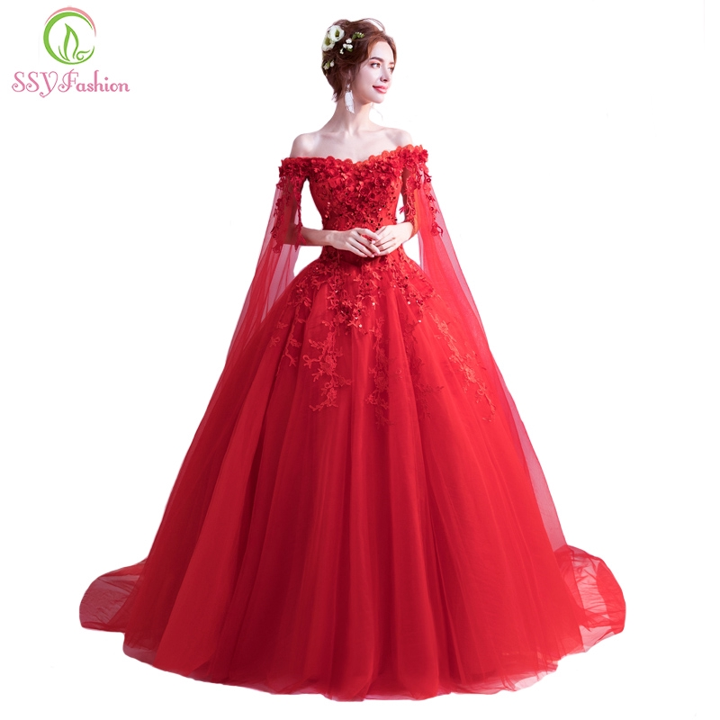 074e3a25a06c1 Women's Fashion Red Evening Dress Luxury Lace Flower Long Prom Party Formal  Gown