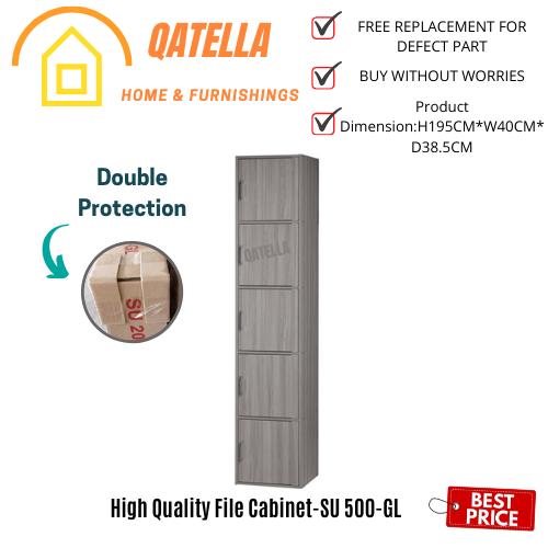 Qatella DIY 5 Box File Cabinet H195cm W40cm D 39cm/Utility Shelf/Book Rack/Storage Cabinet/Buku Cabinet(SU 500)