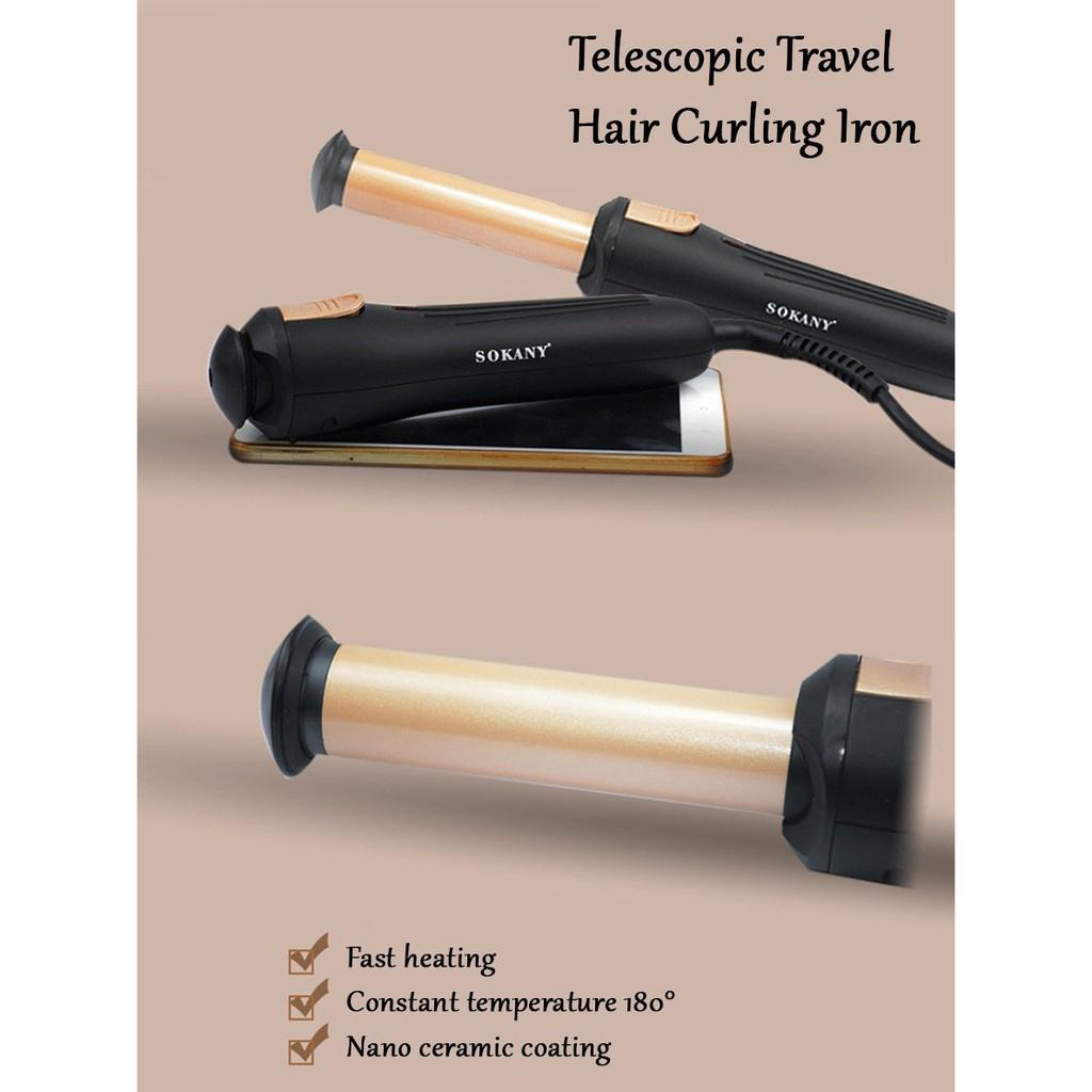Sokany Hb 787 Portable Telescopic Travel Hair Hairdressing Curling Curler Iron Like 0