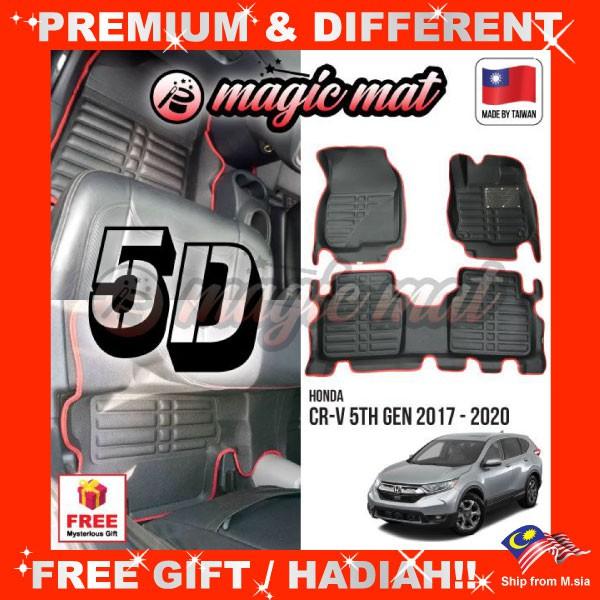 [FREE GIFT Gift] HONDA CRV CR-V 2017 - 2020 (7 Seater) MAGIC MAT 5D OEM PU Leather Floor Mat Anti-Slip Easy Clean Carpet