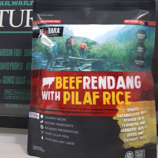 Ready to eat meal Rendang beef with Pilaf Rice Kembara Meal Travel Halal Food