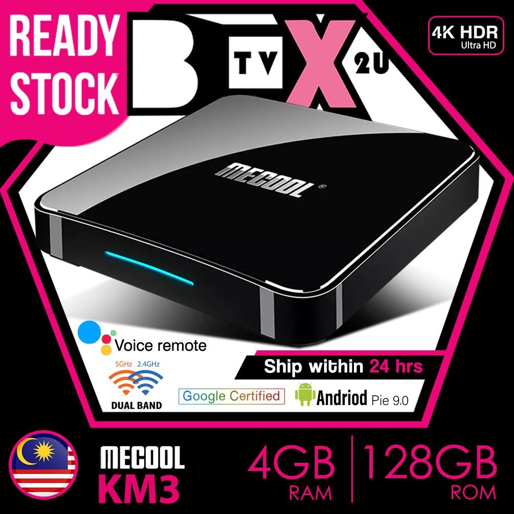 🔥Best Performance tv box🔥Mecool KM3 4GB+128GB S905X2 Android Tv UI Smart  Android TV box Android 9 0 Pie