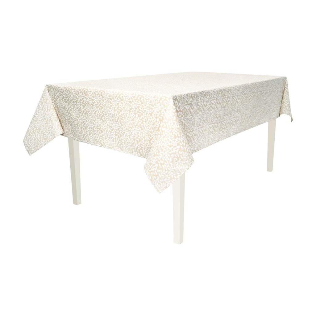 Seed Coated Rectangle Tablecloth.  Anti Stain/Waterproof/Spill Proof . Easy Care. Multisize (Ecru)