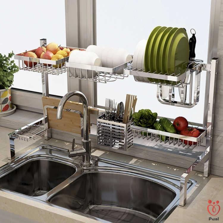 304 Stainless Steel Sink Dish Rack Kitchen Storage Rack Rak Pinggan