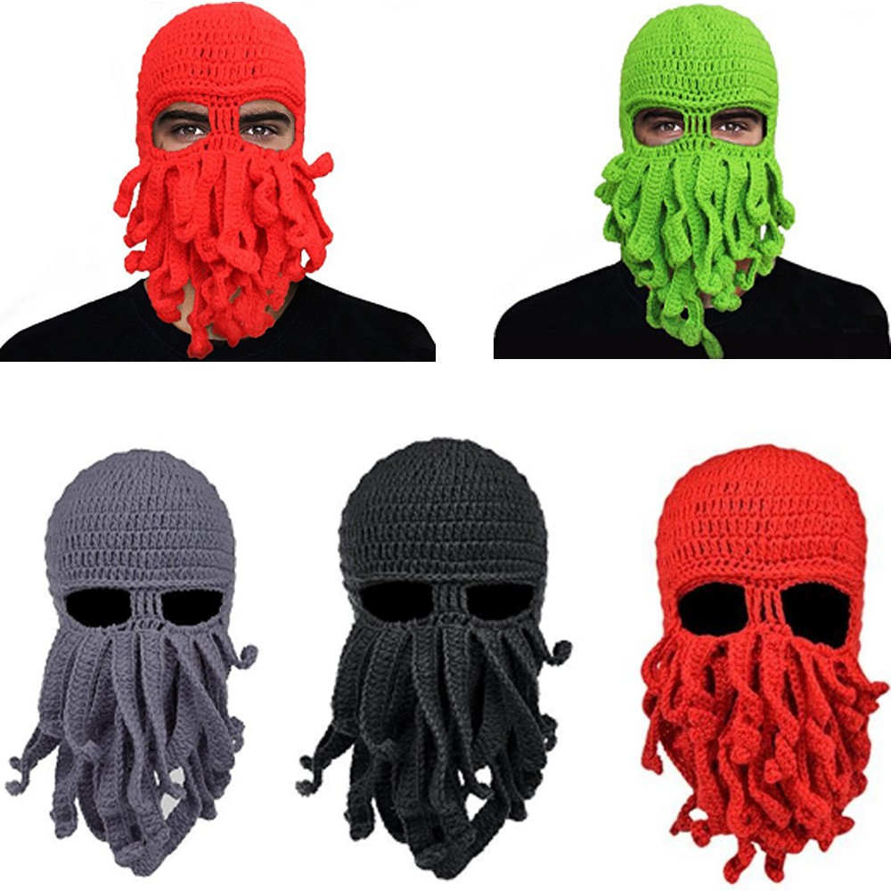 d0e8ec11b Tentacle Knit Mask Octopus Hat Crochet Cthulhu Beard Beanie Cap Funny Unisex