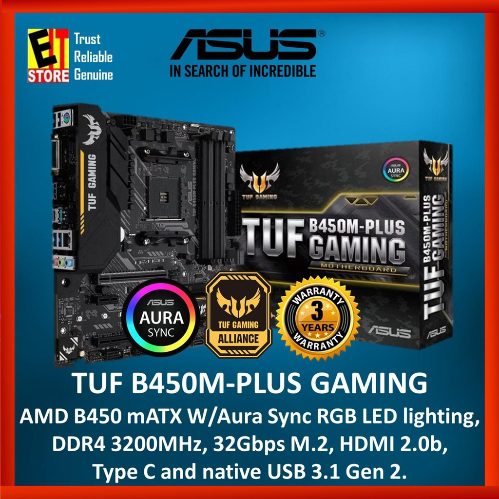 ASUS TUF B450M-PLUS GAMING AMD B450 mATX gaming motherboard with Aura Sync  RGB LED lighting