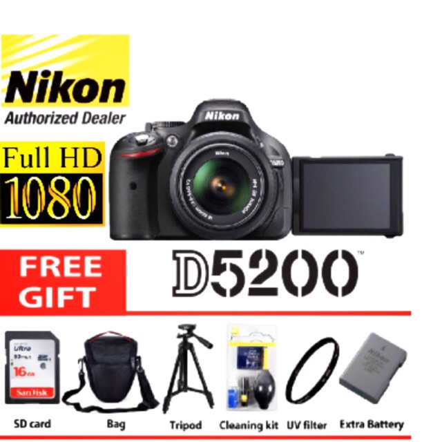 Nikon d5200 18-55 VR original 2 years warranty