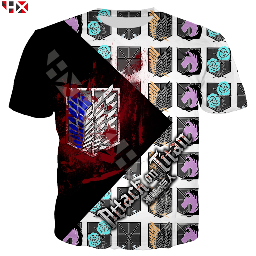Women Men T-Shirt 3D Print Anime Attack On Titan Oversized Short Sleeve Tee Tops