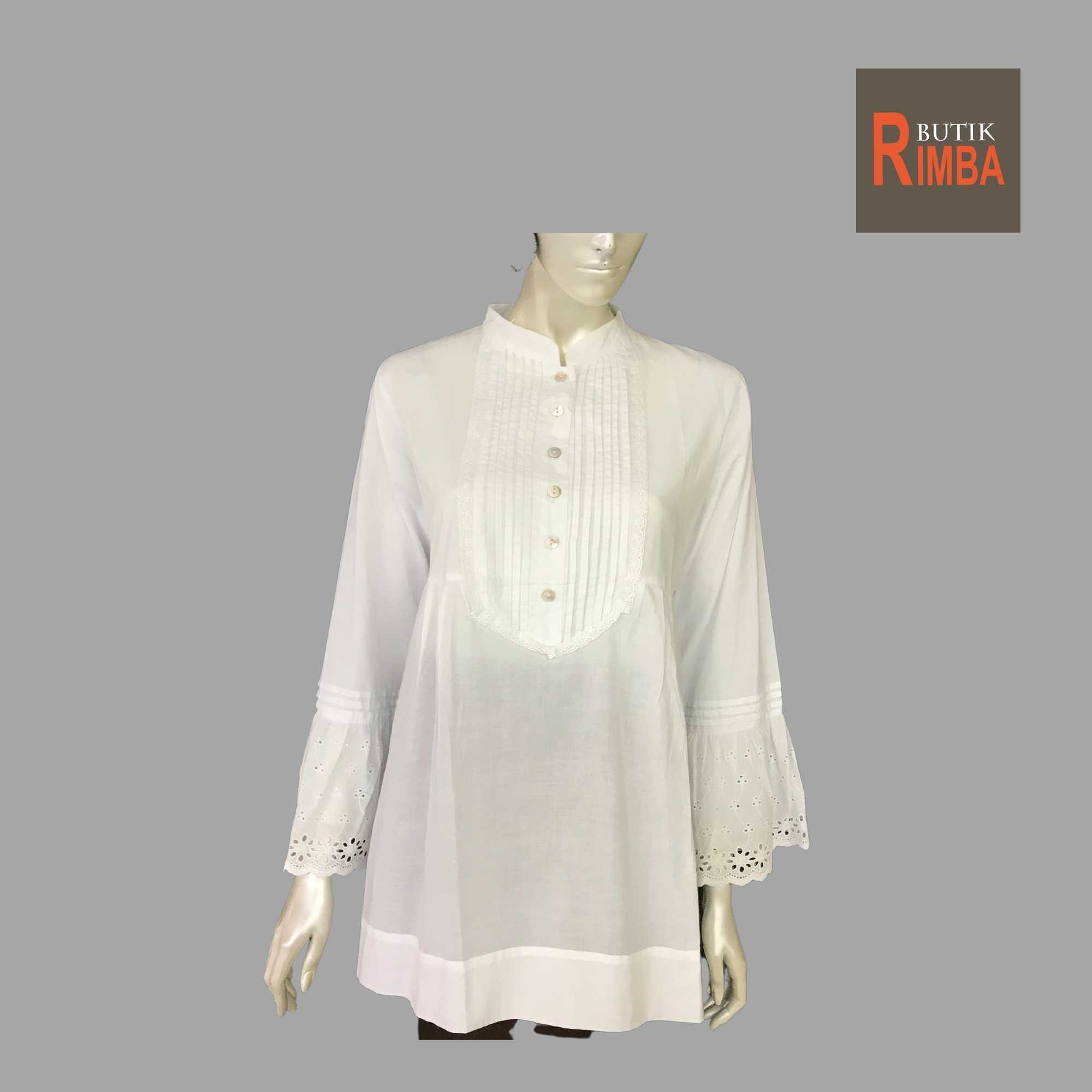 WOMEN CASUAL AND COMFORTABLE WHITE BLOUSE COTTON FREE SIZE PATTERN 16
