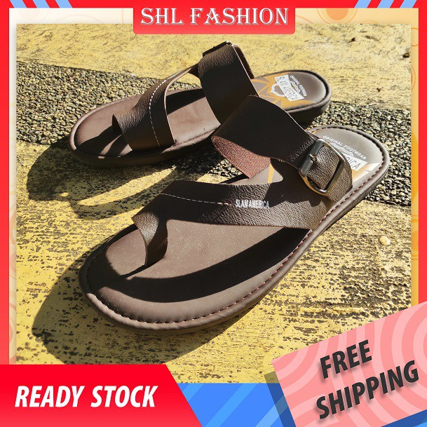 SHL Men PU Leather Sandal Slip On & Flip Flops Selipar Kasut Lelaki size 40-44【男士拖鞋】 -1348