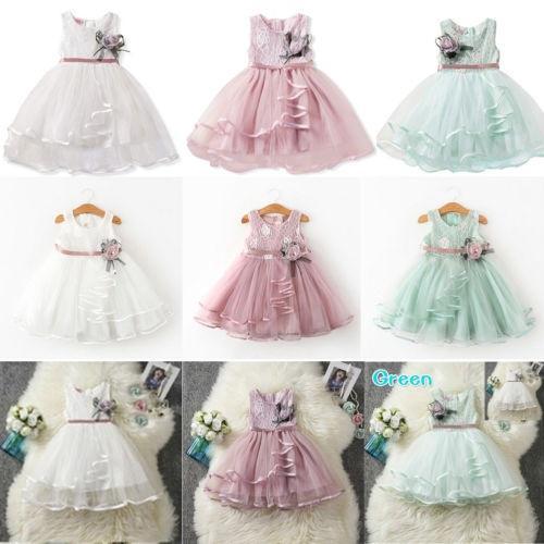 d0e0848c83092 ♛❀♛1Pcs New Kids Girls Elegant Flower Girls Dress Princess ...