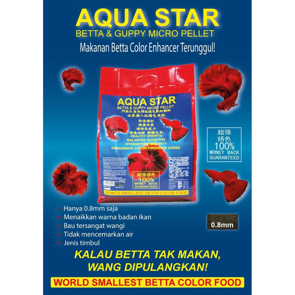 AQUA STAR Betta Guppy Micro Pellet Color Enhancer 0.8mm | Makanan Ikan Laga Betta Color Enhancer Terunggul