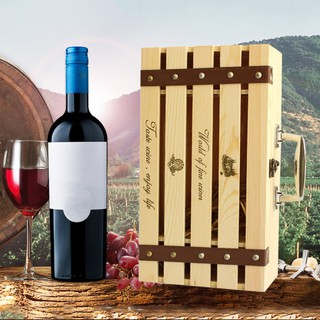 Wine Wooden Pine Box For Double Bottles Customized Packing Gift Box
