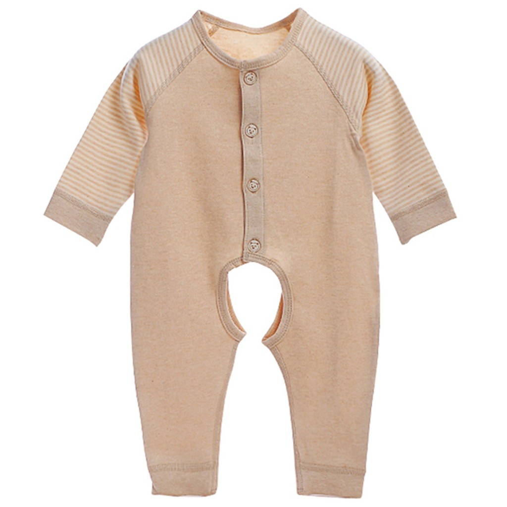 0f1c81d2778c Unisex Baby Organic Natural Colored Cotton Long-Sleeve Overall Bodysuits