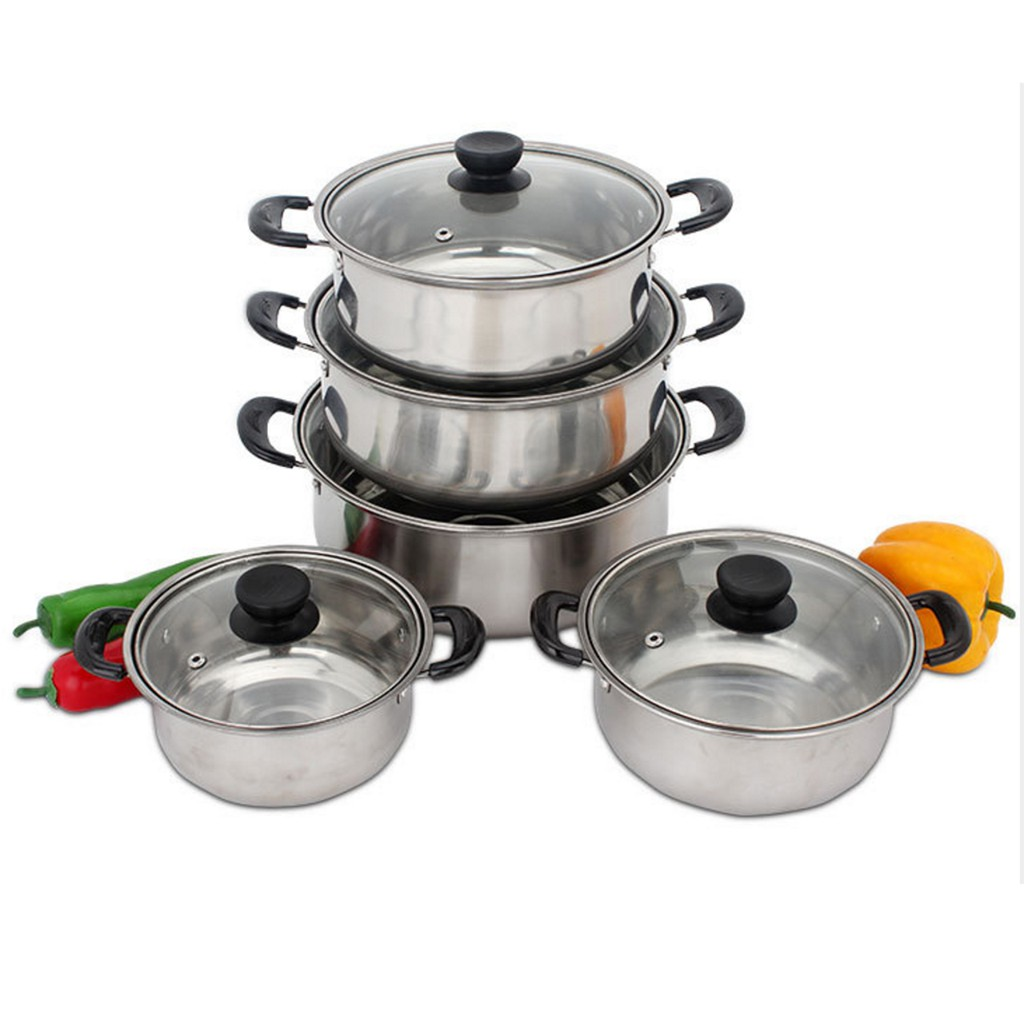 4pc Non Stick Casserole Stockpot Square Cookware Pot Set Die Cast Marble Pan Top Watermelons Cookware, Dining & Bar