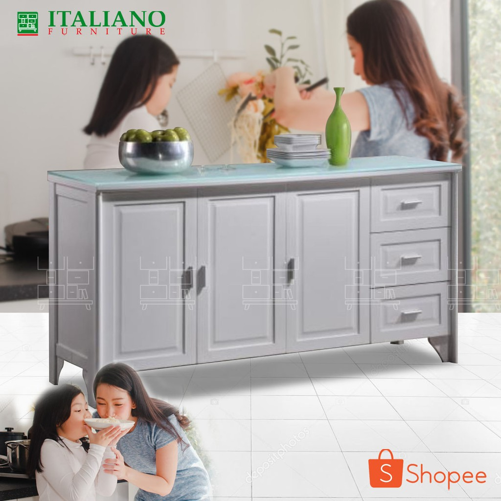 5 Feet Solid Strong Kitchen Cabinet With Template Glass Top White Shopee Malaysia