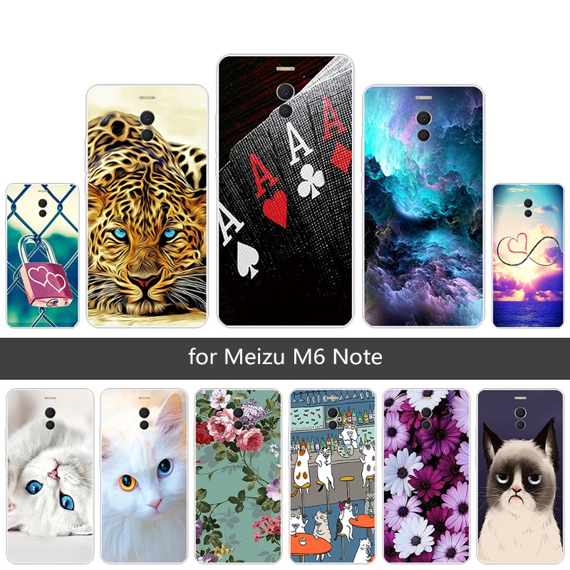 Protective Cover for Meizu M6 Note Soft TPU Black Matte Mobile Phone Case  For MeilanNote6 Luxury Flexible Kitten Painted
