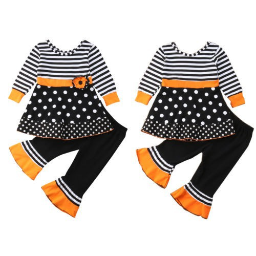 bd6803fec781c ProductImage. ProductImage. 2018 New 2Pcs Clothes Set Kid Baby Girls Flower  Striped Dot Long Sleeve Top+Wide Leg Bell Bottoms Pants Outfits Childr
