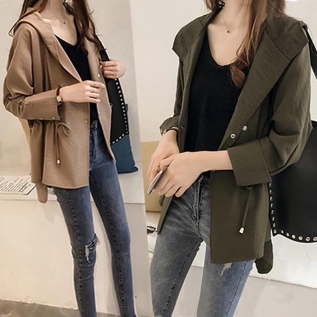 {Ready Stock For Black Colour - XL}[L~4XL]Plus Size Korean loose trench coat 大码女装秋装新款风衣西装外套女百搭胖mm宽松洋气胖妹妹