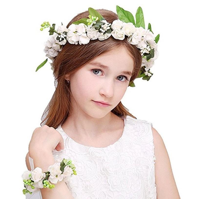 Hair Accessories Aggressive Baby Girls Simulation Flower Headband Wreath Kids Wedding Floral Wrist Ring Floral Garland Hair Band Holiday Children Accessori