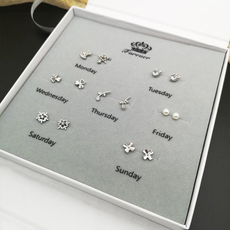 韩式925纯银耳环套装(1盒有7对)7 pairs 925 silver earrings
