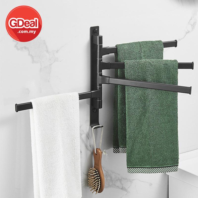 GDeal Wall Hanging Movable Bathroom Towel Rack Free Punching Hanger Penggantung Tuala ڤڠڬنتوڠ توالا