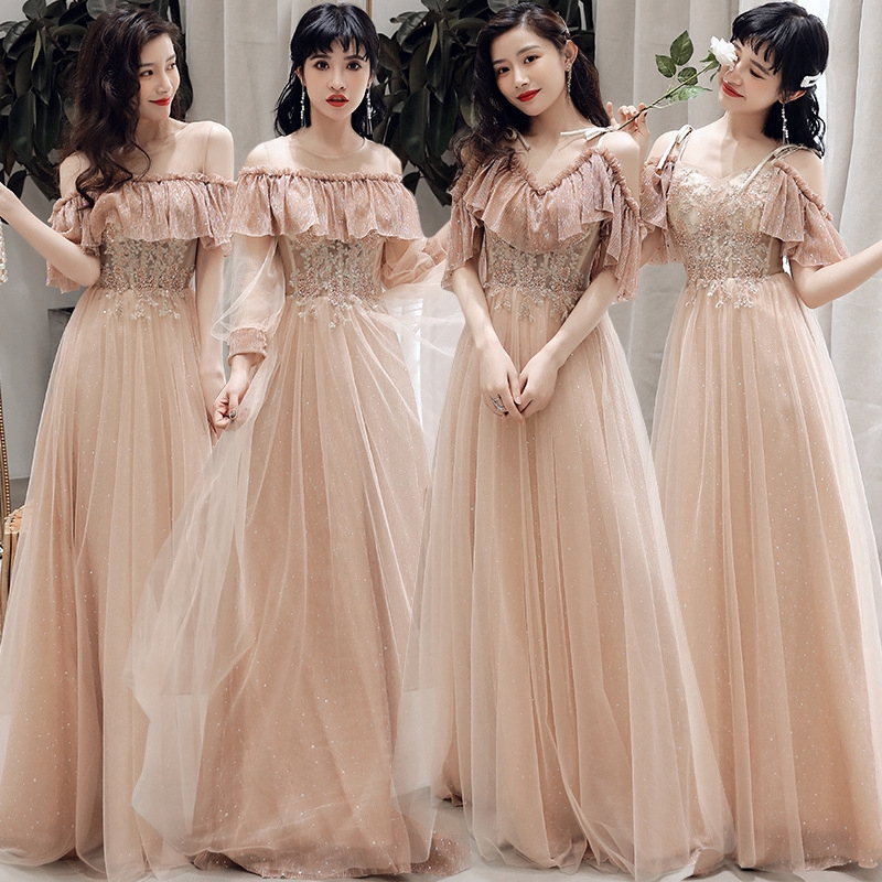 Women Sequins Prom Bridesmaid Dress Glitter Rose Gold Long Evening Gowns Formal Shopee Malaysia