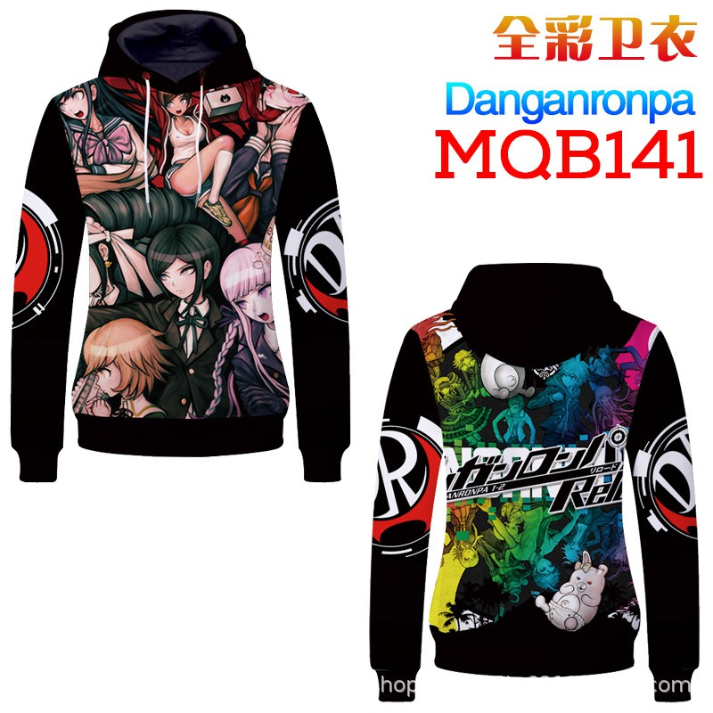 ☀☀Danganronpa projectile on broken hooded sweater black white bear COS  clothing anime around to map custom