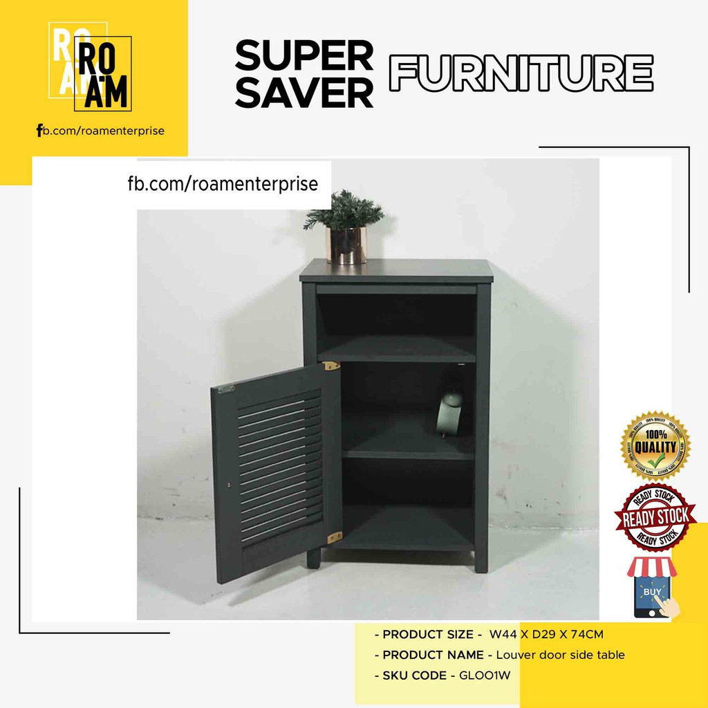 GLORY LOUVER DOOR SIDE TABLE  grey color