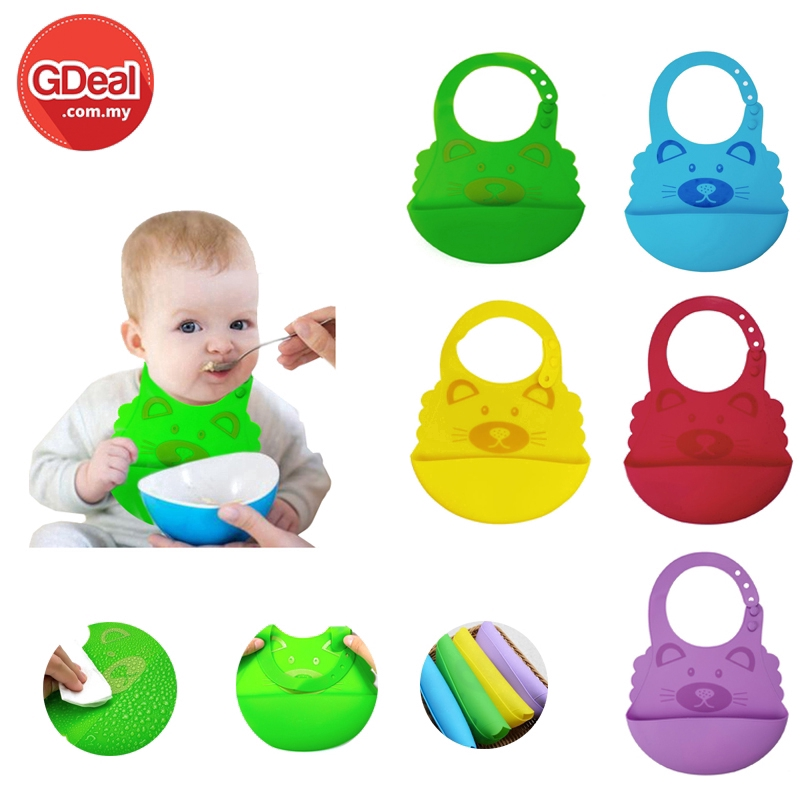 GDeal Waterproof Silicone Baby Bib Roll Up Washable Feeding Crumb Catcher Baby Pocket