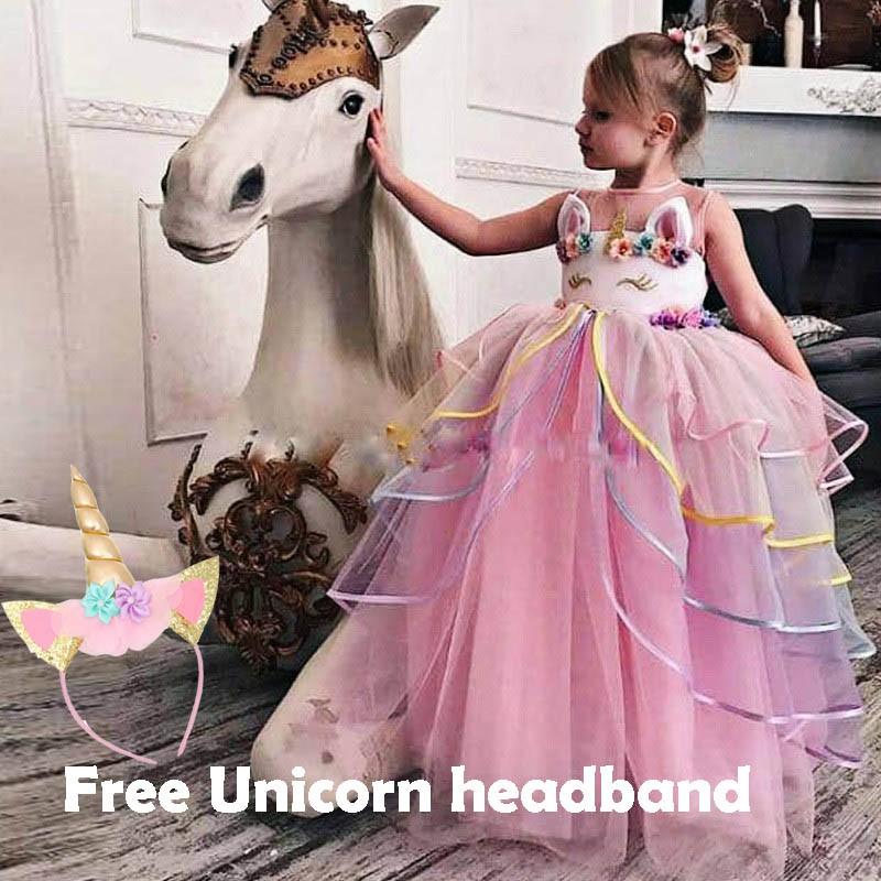 f57b01a7a11cb Fancy Baby Girl Clothing Fairy Unicorn Dress for Girls Unicornio Infantil  Children Summer Clothes Girls Costume