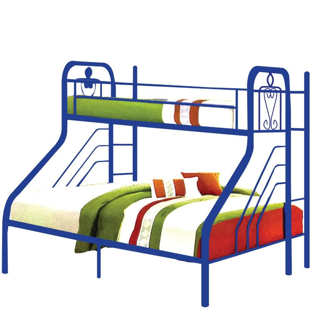 Furniture Direct PONGO SINGLE OVER QUEEN METAL BUNK BED-BLUE