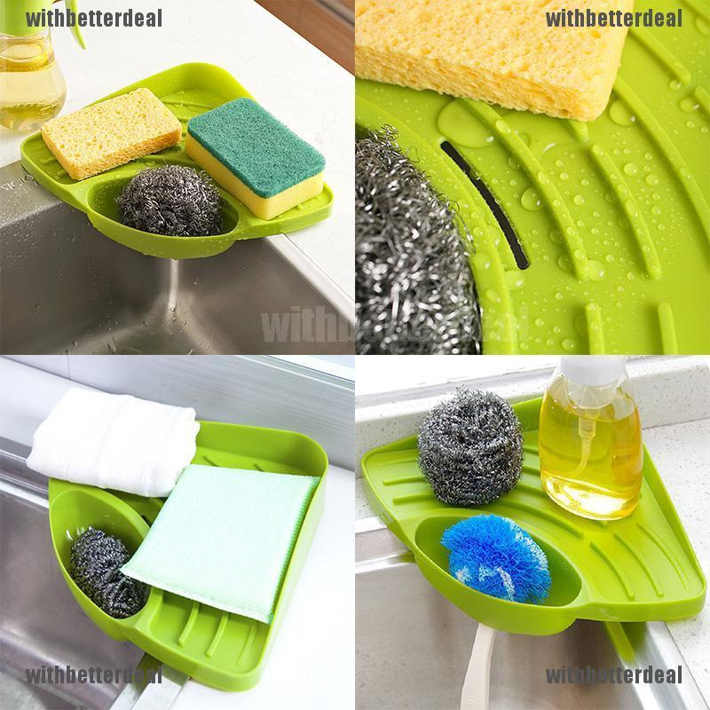 Portable Kitchen Sink Corner Storage Rack Sponge Holder Wall Mounted Tool Shopee Malaysia