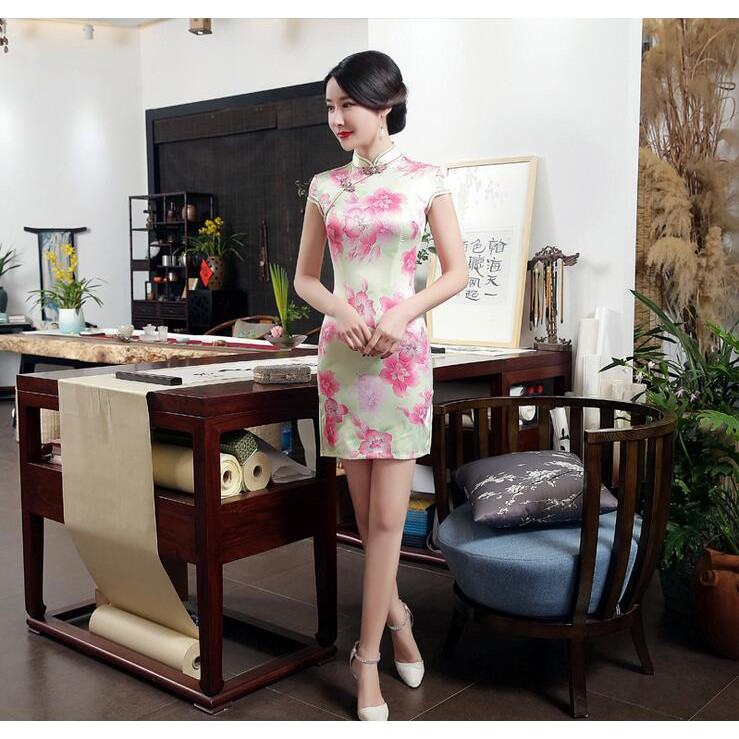 6f9b3d8a0 ProductImage. ProductImage. Charming Chinese Women Silk Short Qipao Summer  New Style Cheongsam Vintage