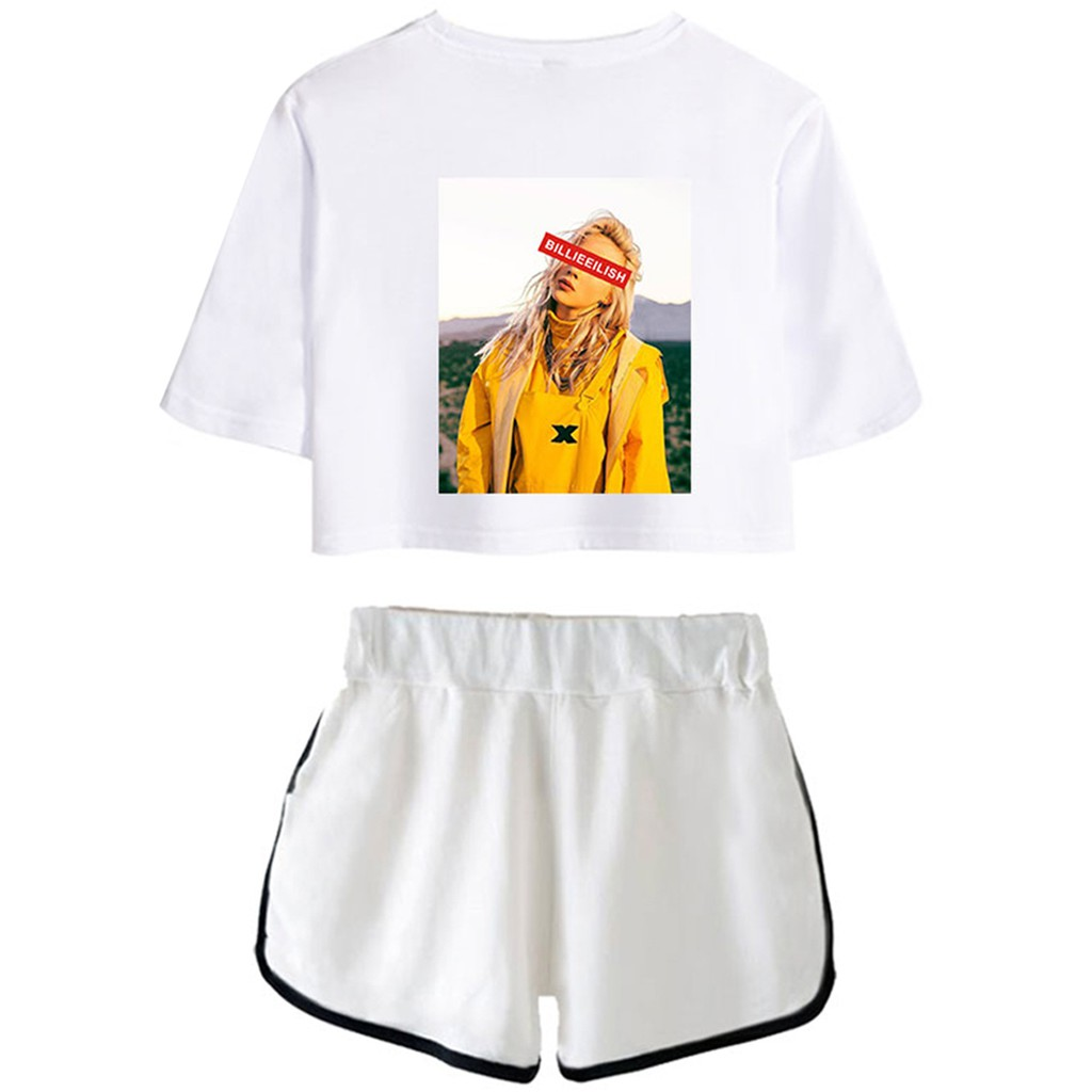 Eudolah Billie Eilish Clothes Set Casual Active Crop Top T Shirts And Shorts Set For Women