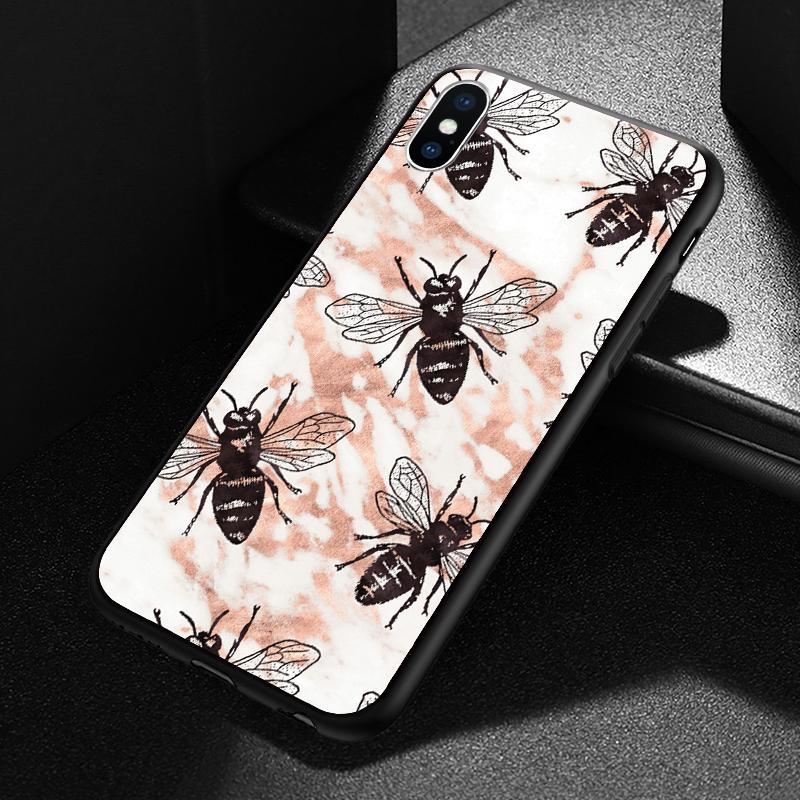 new arrival 8ace0 e4080 iPhone 5 6 7 8 Plus X XS XR Max Rose Gold Bees Marble Stone Phone Case