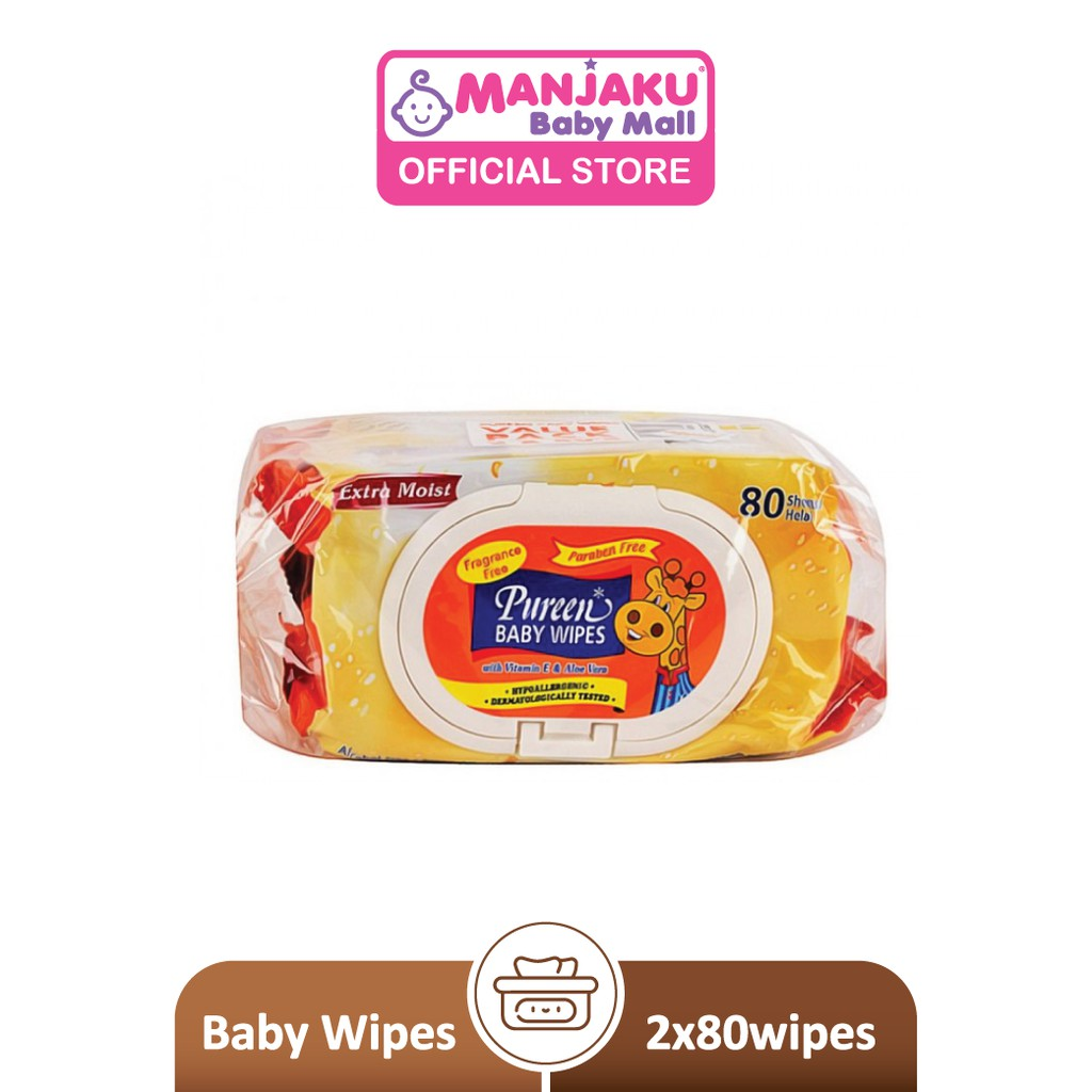 Pureen Baby Wipes - Fragrance Free (2 x 80's)