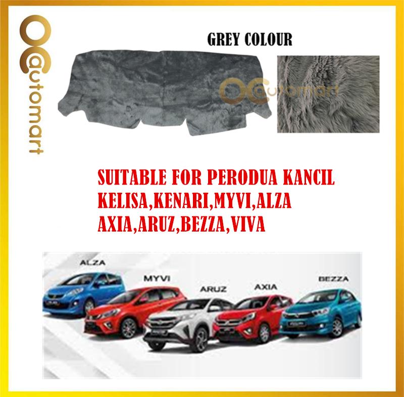 Customized Dashboard Cover Fur / Bulu Colour Grey For Perodua Myvi,Viva,Axia,Aruz,Alza,Kancil,Kenari,Kelisa,Bezza