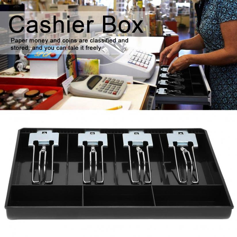 Cash Drawer Register Insert Tray Cashier with Metal Clip