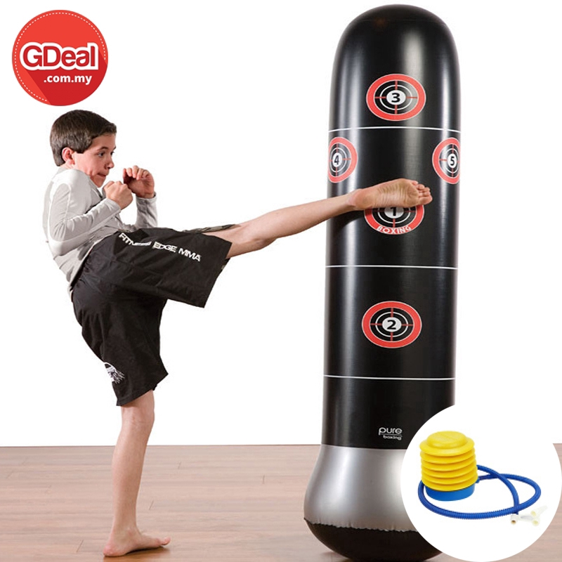 GDeal Training Fitness Boxing Bag Inflatable Free-Stand Tumbler Pressure Relief Bounce Back Sandbag With Air Pump