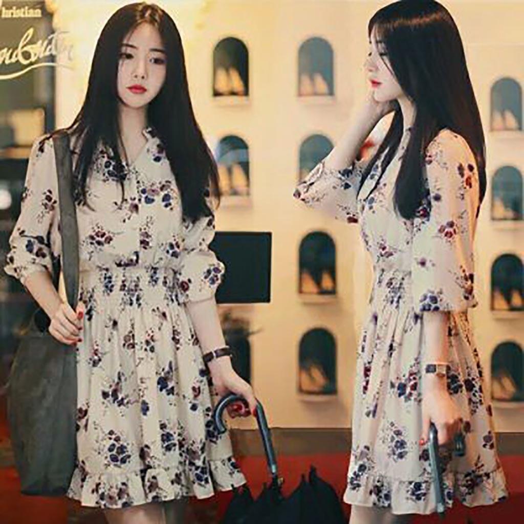 Sweet Size S-XXL Temperament Printed Stand Collar Women Elastic Dress