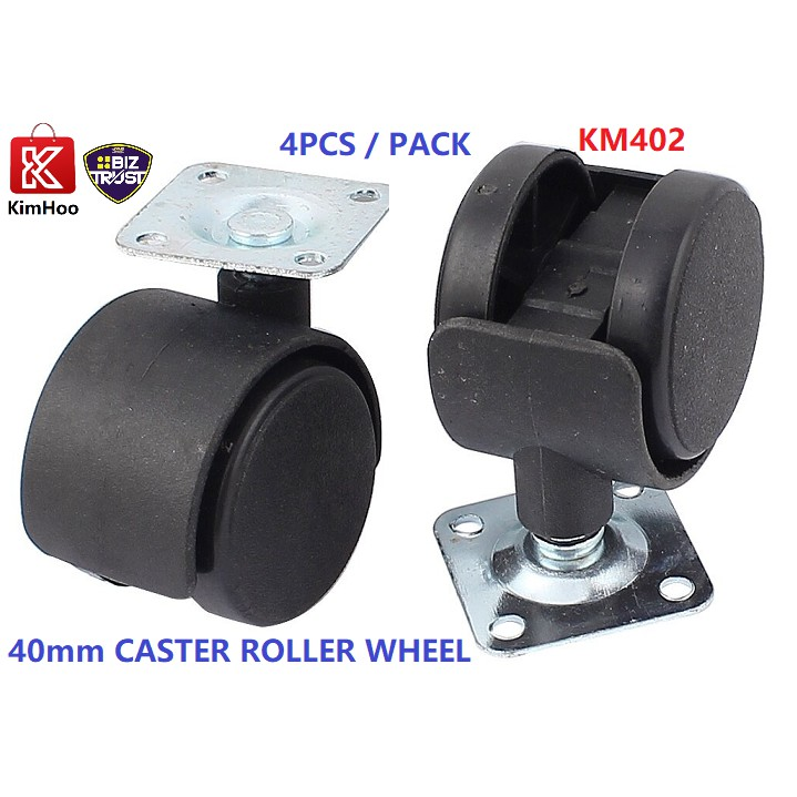 Heavy Duty 40mm Nylon Plastic Replacement Caster Swivel Furniture Wheels With Plate