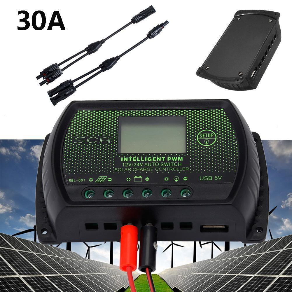 30a 12v 24v Pwm Solar Panel Battery Regulator Charge Controller Led Controllers 12 Screen Shopee Malaysia