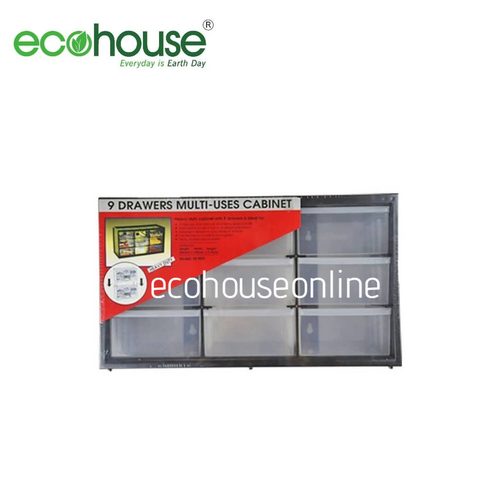 Ecohouse 9 Compartment Stackable Heavy Duty Drawers/Plastic Storage Multi Uses Organizing Cabinet [ READY STOCK ]