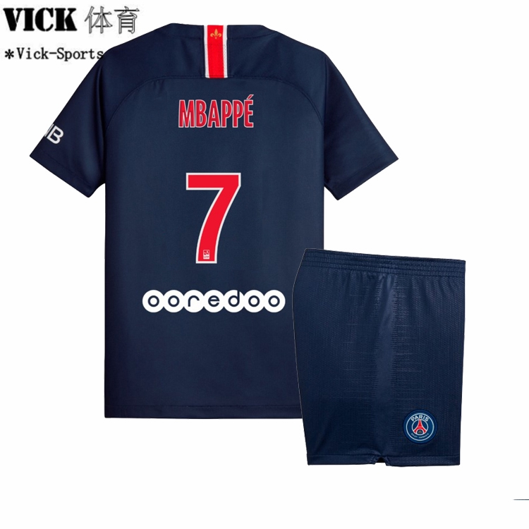 low priced 0b6d2 c436b 2019 PSG Mbappe No.7 Paris Saint-Germain Home Football Jersey Boys For Kids