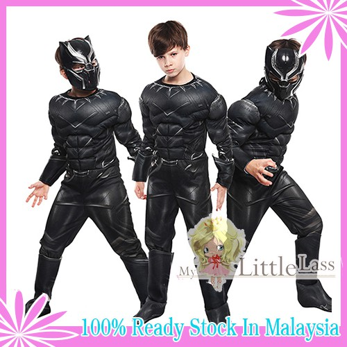 Boys Black Panther Deluxe Muscle Costume with Mask 4-8y