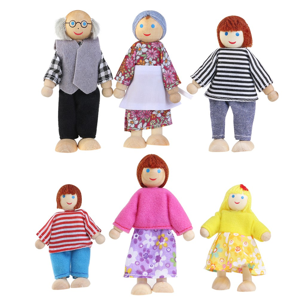 6 Cute Dolls Wooden House Family People Set Kids Children Pretend Play Toy Gift
